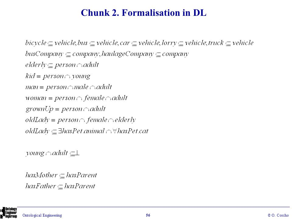 Chunk 2. Formalisation in DL