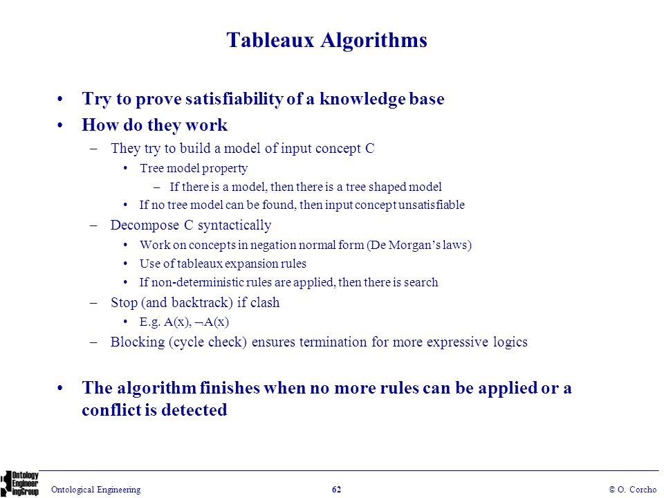 Tableaux Algorithms Try to prove satisfiability of a knowledge base