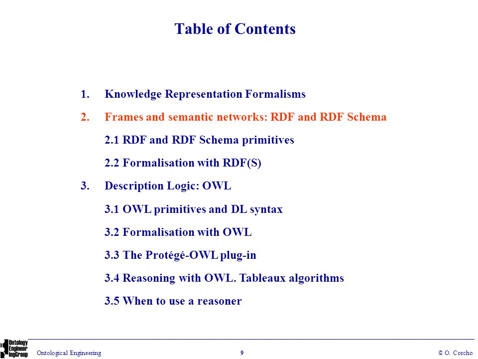 Table of Contents Knowledge Representation Formalisms