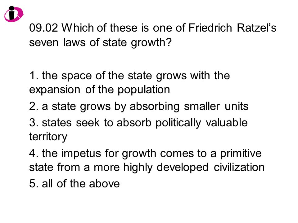 09.02 Which of these is one of Friedrich Ratzel's seven laws of state growth