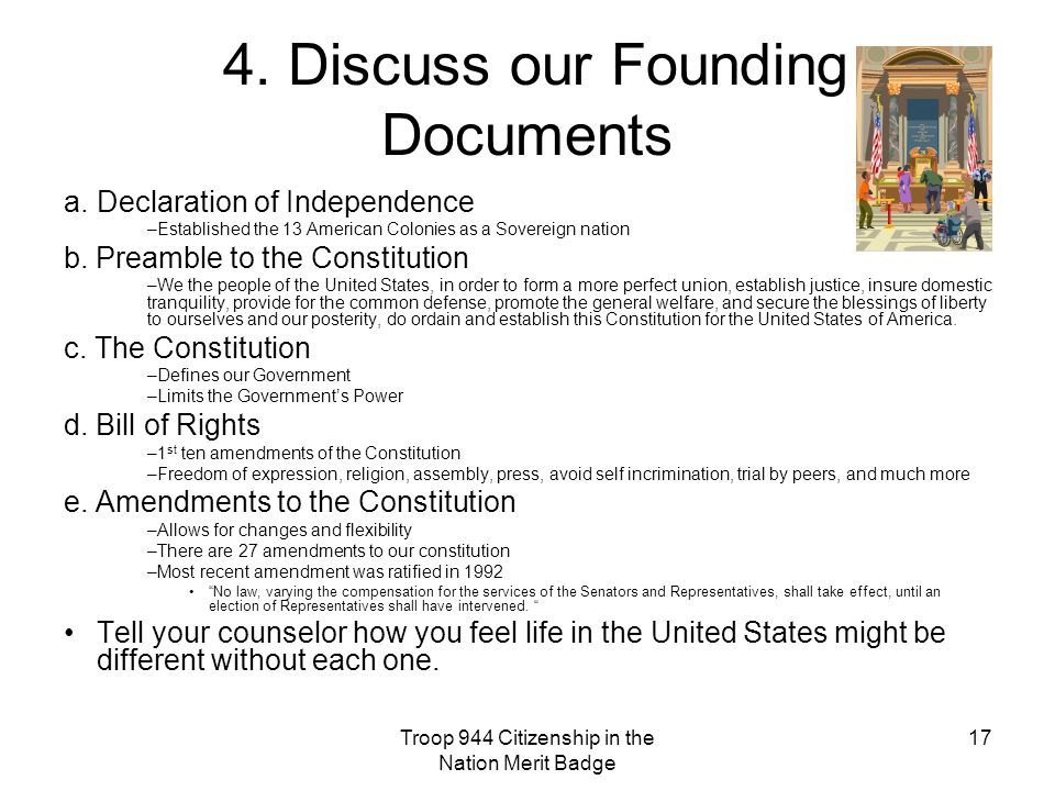 4. Discuss our Founding Documents