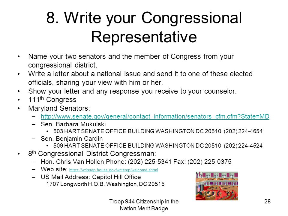 8. Write your Congressional Representative