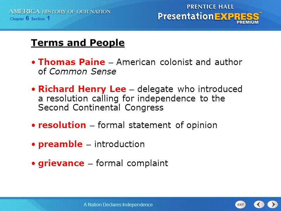 Terms and People Thomas Paine – American colonist and author of Common Sense.