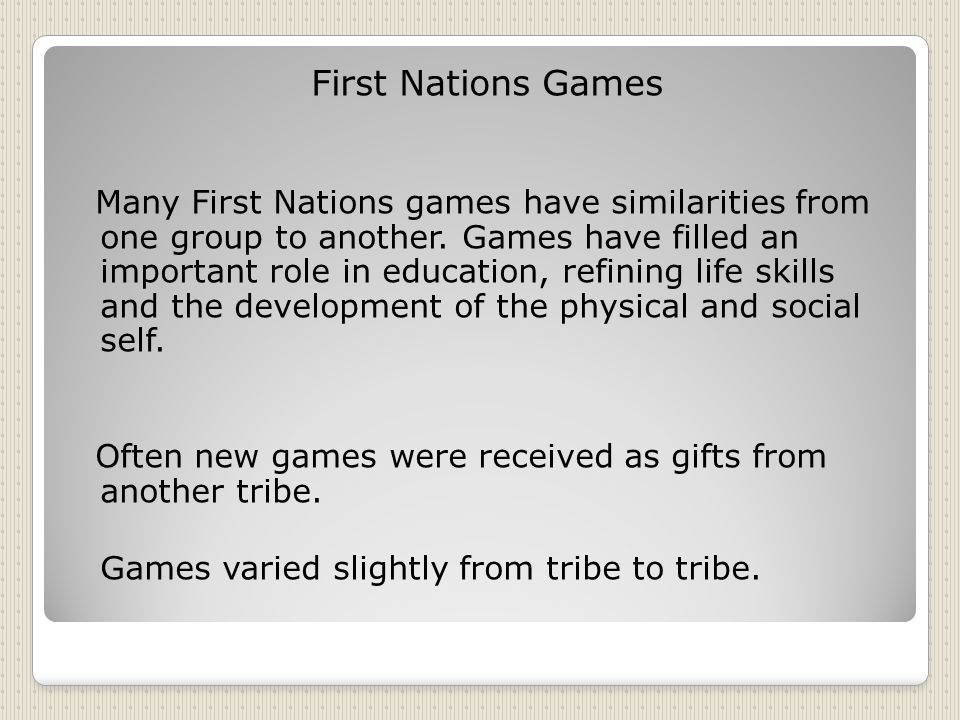 First Nations Games