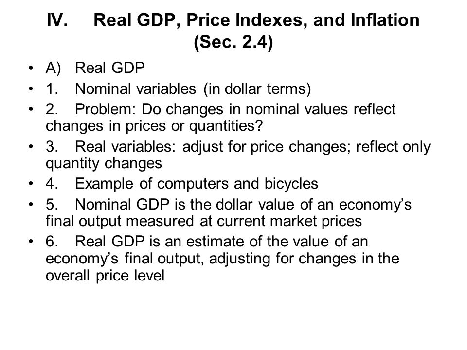 IV. Real GDP, Price Indexes, and Inflation (Sec. 2.4)