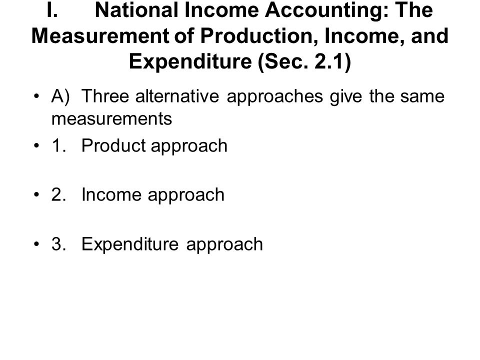 I. National Income Accounting: The Measurement of Production, Income, and Expenditure (Sec. 2.1)