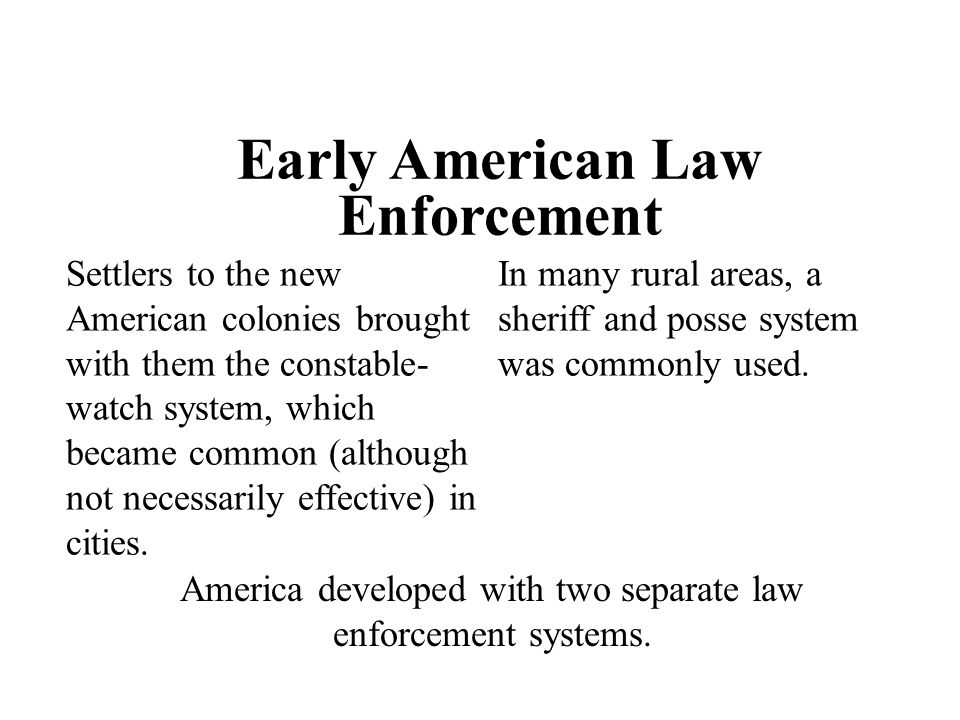 Early American Law Enforcement