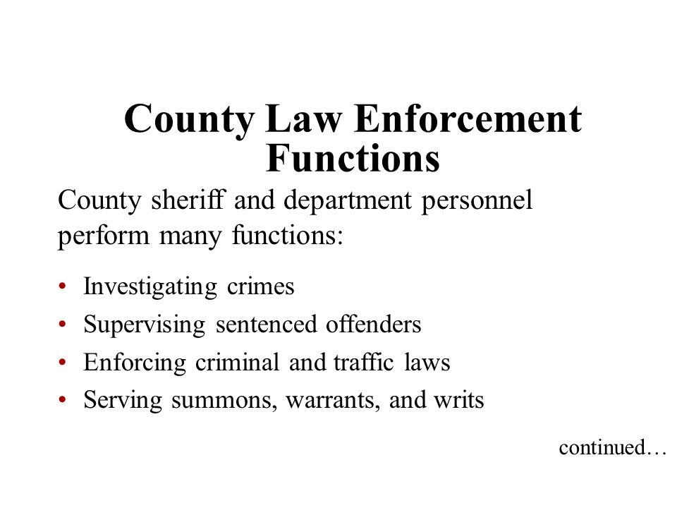 County Law Enforcement Functions
