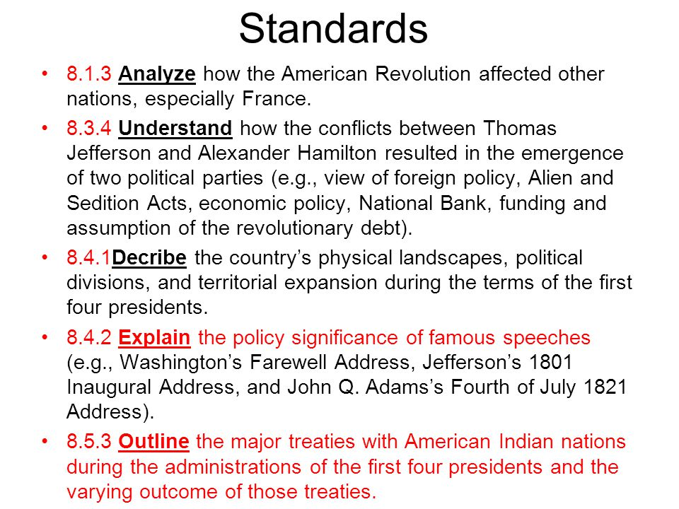 Standards 8.1.3 Analyze how the American Revolution affected other nations, especially France.