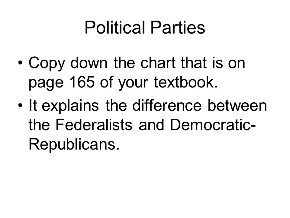 Political Parties Copy down the chart that is on page 165 of your textbook.