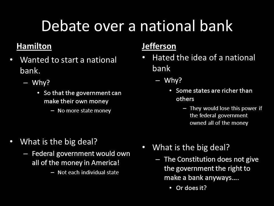 Debate over a national bank