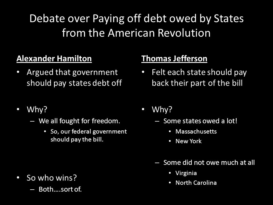 Debate over Paying off debt owed by States from the American Revolution