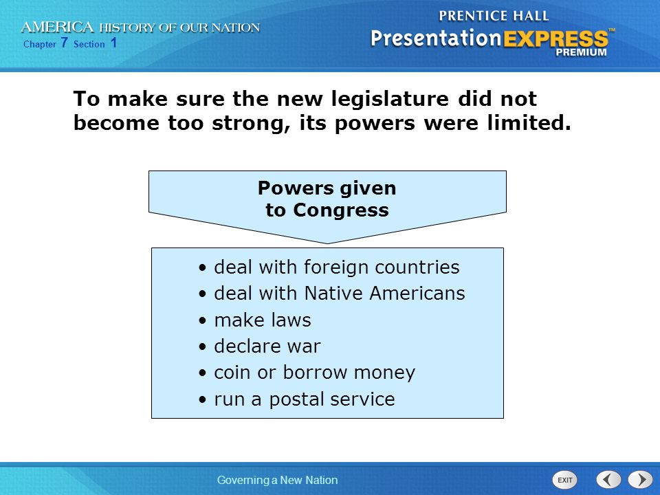 Powers given to Congress. To make sure the new legislature did not become too strong, its powers were limited.