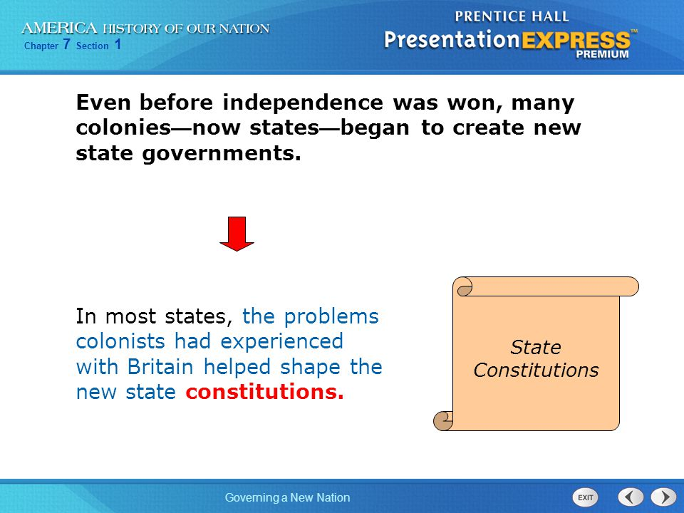 Even before independence was won, many colonies—now states—began to create new state governments.