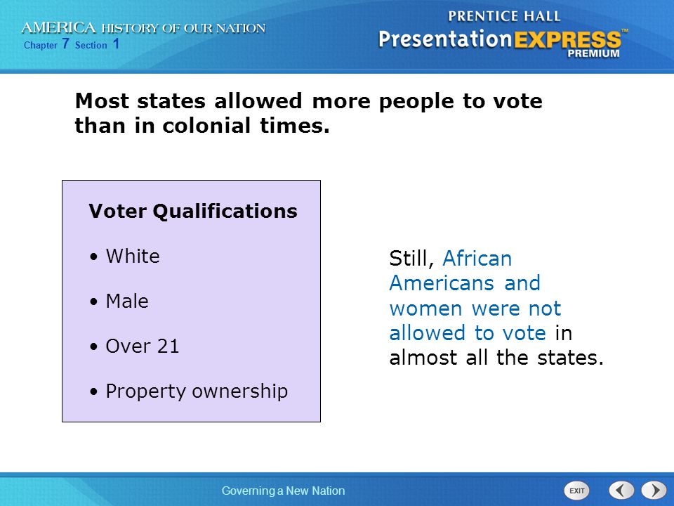 Most states allowed more people to vote than in colonial times.