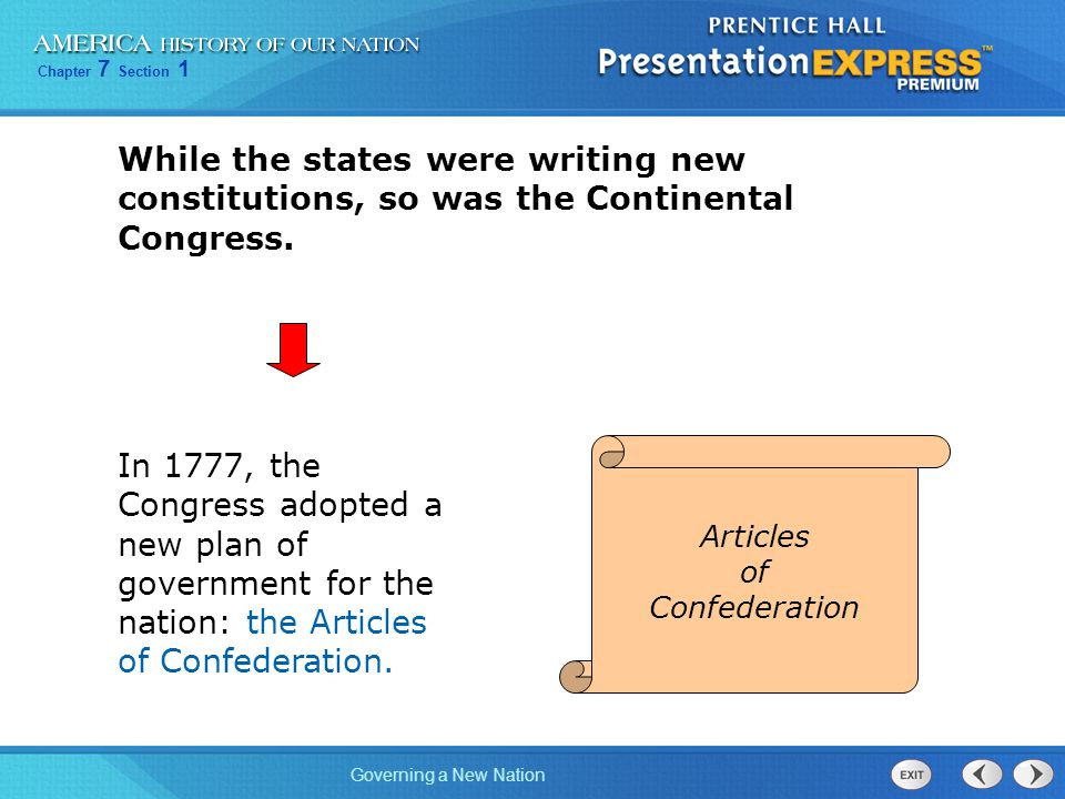 While the states were writing new constitutions, so was the Continental Congress.