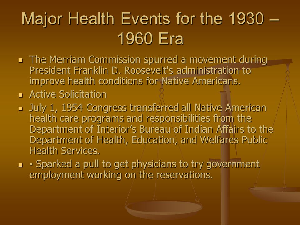 Major Health Events for the 1930 – 1960 Era