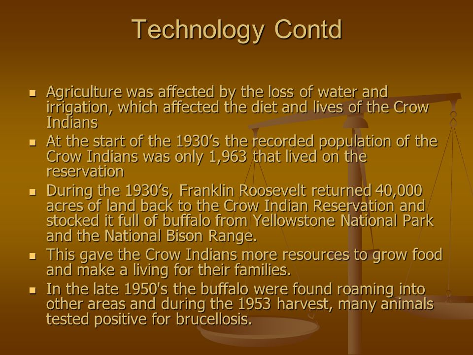 Technology Contd Agriculture was affected by the loss of water and irrigation, which affected the diet and lives of the Crow Indians.