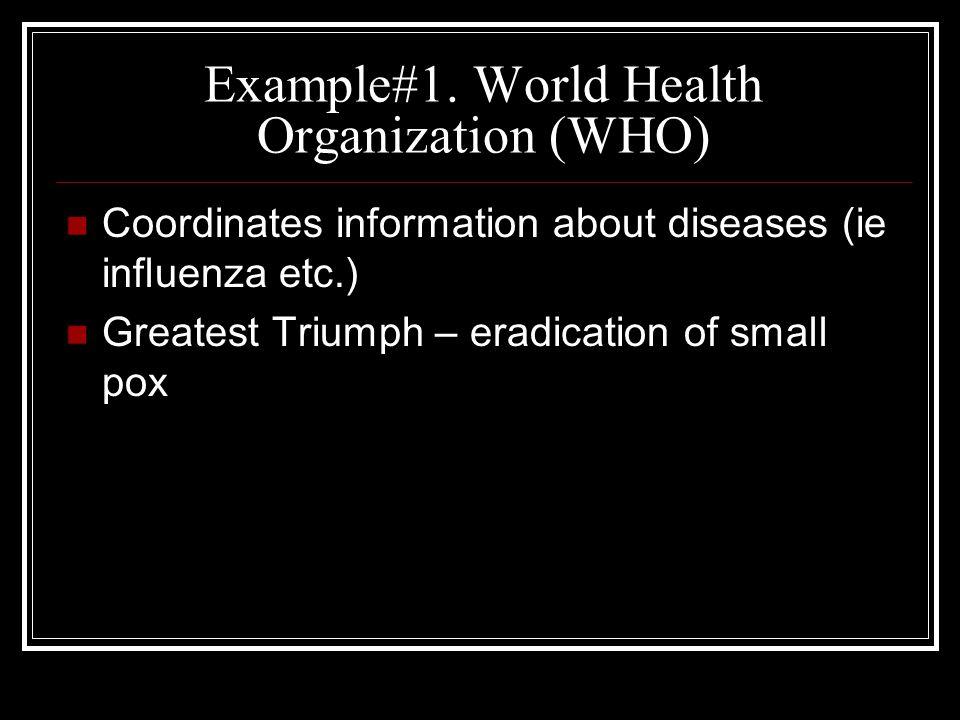 Example#1. World Health Organization (WHO)