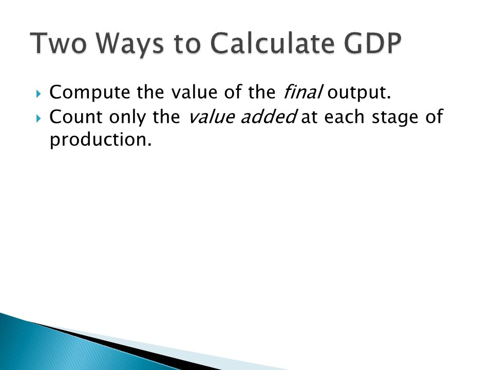 Two Ways to Calculate GDP