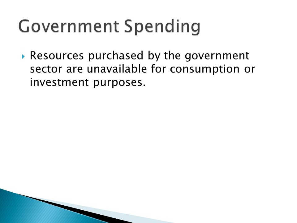 Government Spending Resources purchased by the government sector are unavailable for consumption or investment purposes.