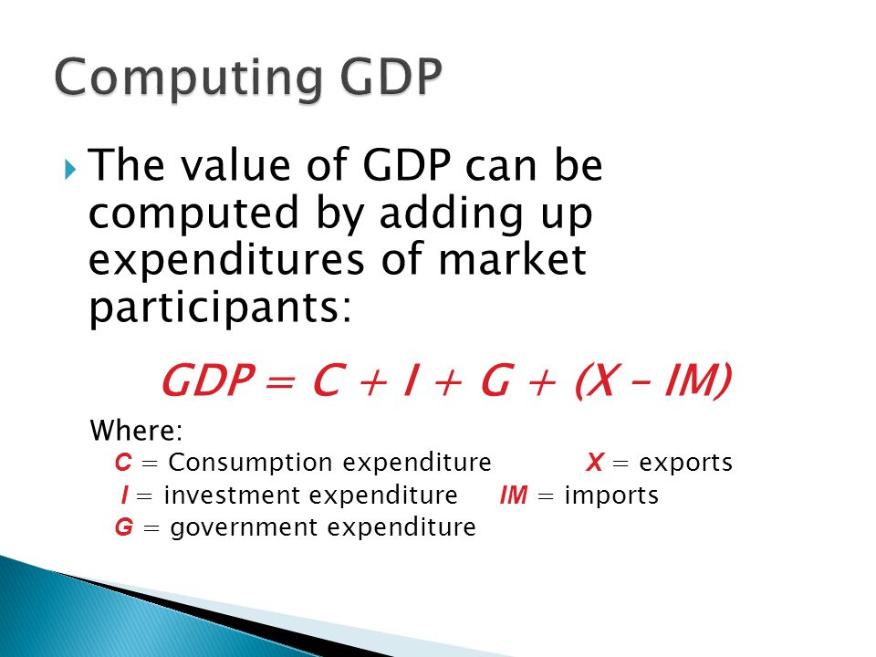 Computing GDP The value of GDP can be computed by adding up expenditures of market participants: