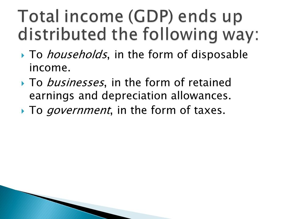 Total income (GDP) ends up distributed the following way: