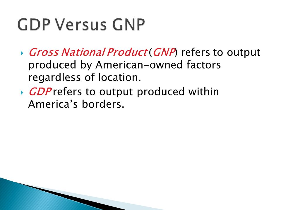 GDP Versus GNP Gross National Product (GNP) refers to output produced by American-owned factors regardless of location.