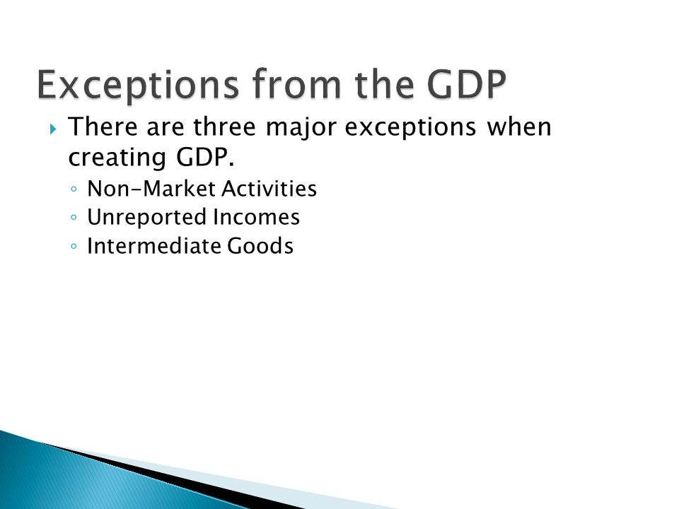 Exceptions from the GDP