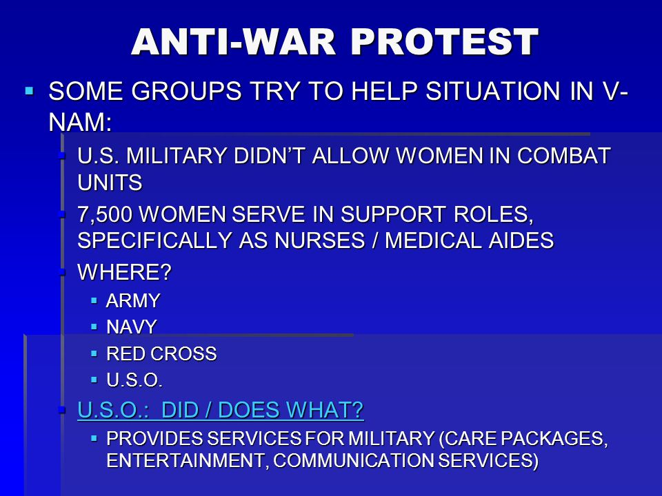 ANTI-WAR PROTEST SOME GROUPS TRY TO HELP SITUATION IN V-NAM: