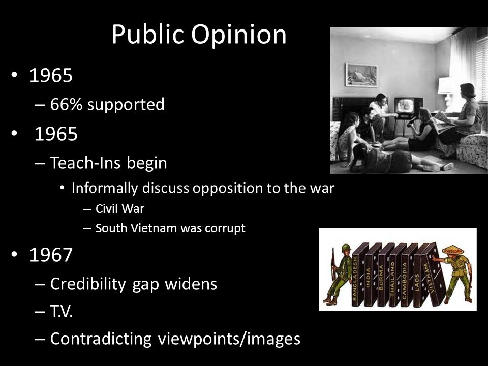 Public Opinion 1965 1967 66% supported Teach-Ins begin