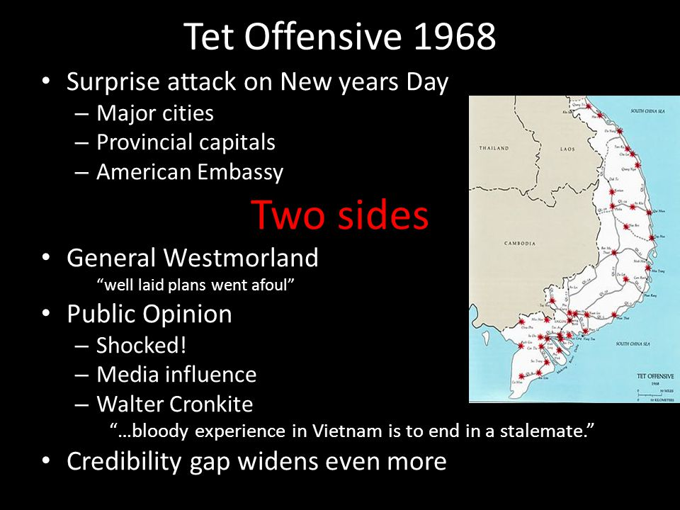 Two sides Tet Offensive 1968 Surprise attack on New years Day