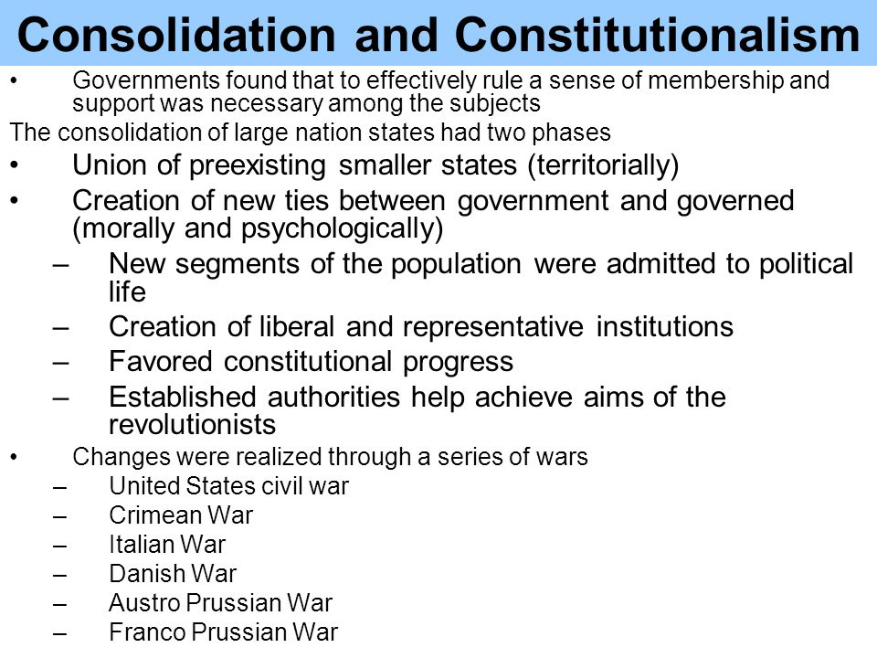 Consolidation and Constitutionalism