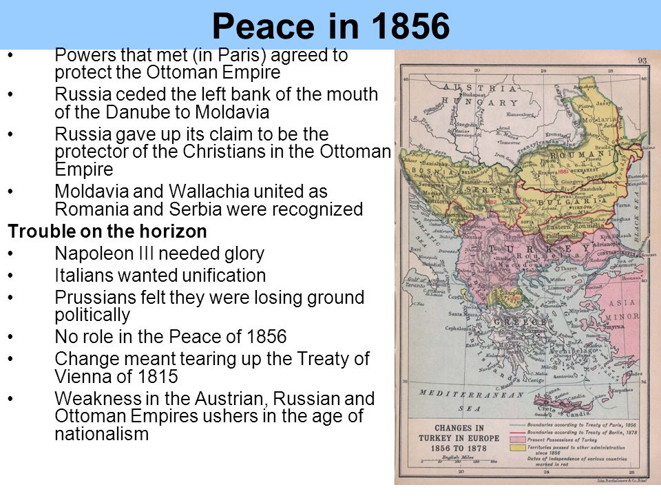 Peace in 1856 Powers that met (in Paris) agreed to protect the Ottoman Empire. Russia ceded the left bank of the mouth of the Danube to Moldavia.