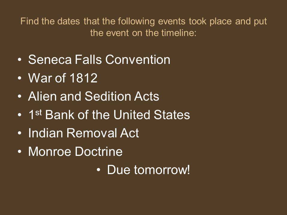 Seneca Falls Convention War of 1812 Alien and Sedition Acts