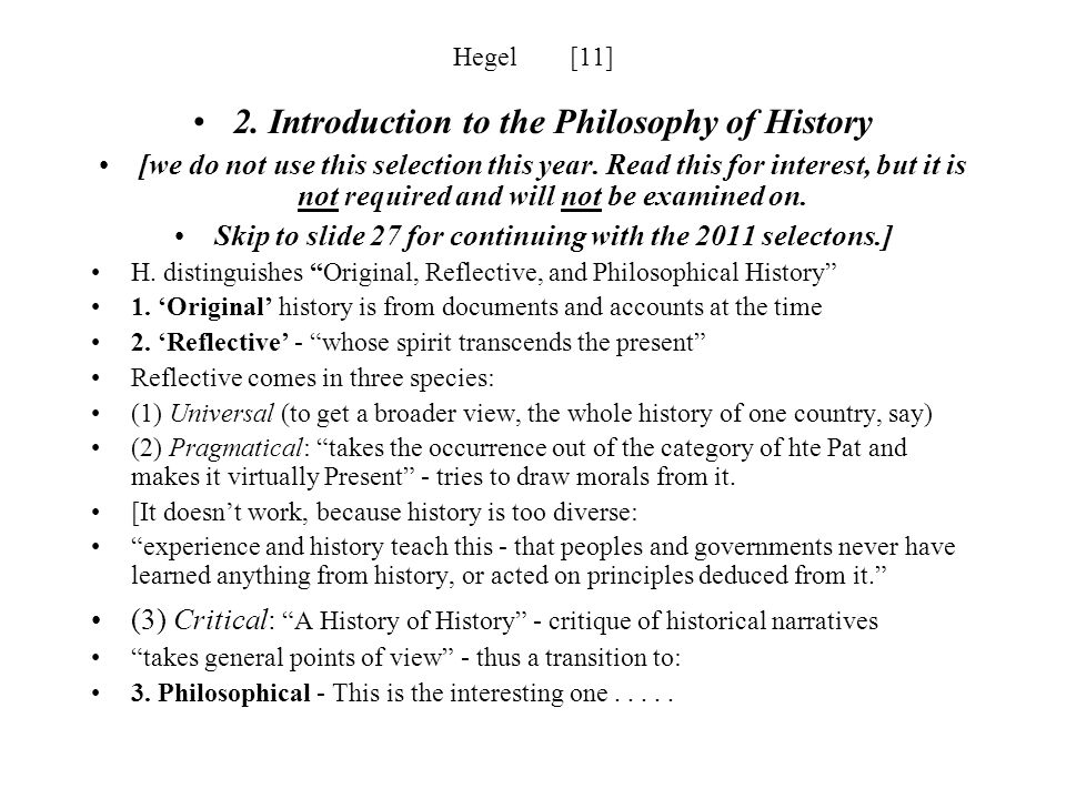 2. Introduction to the Philosophy of History