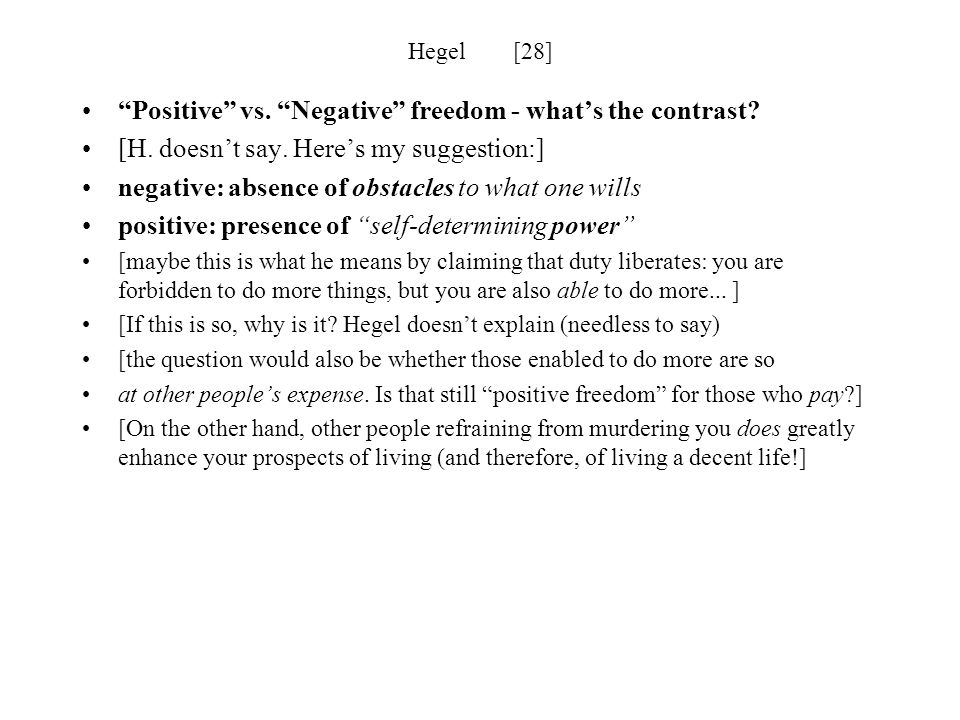 Positive vs. Negative freedom - what's the contrast