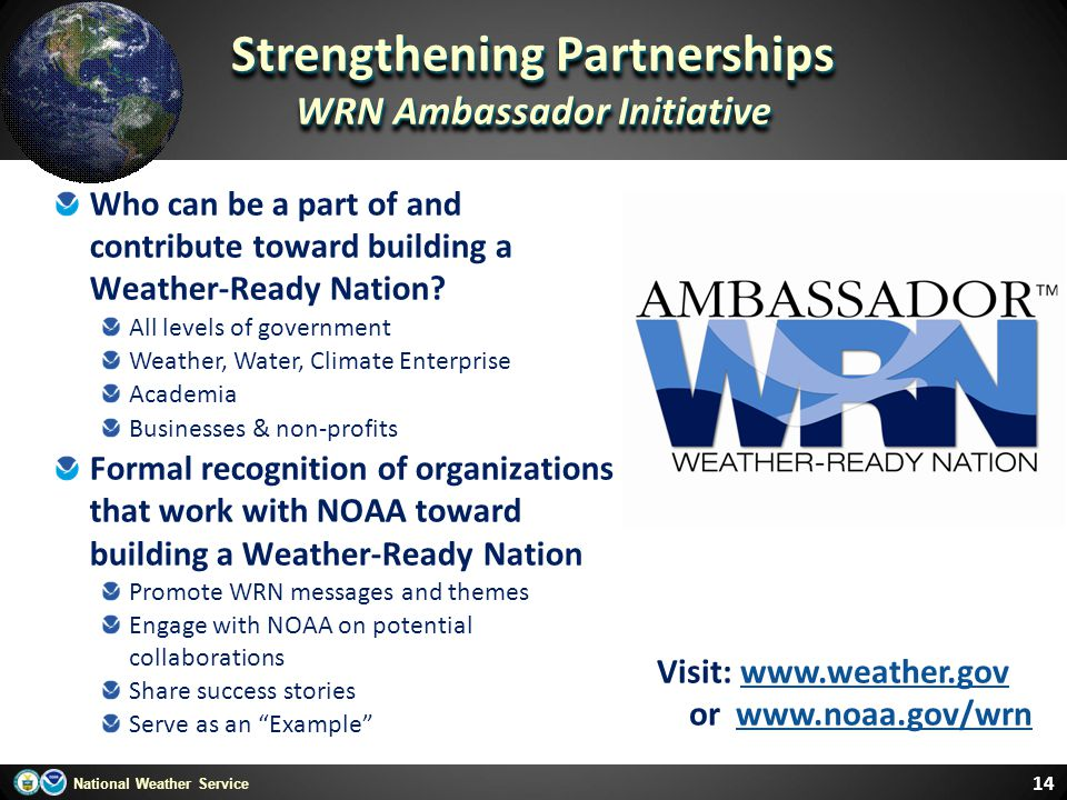 Strengthening Partnerships WRN Ambassador Initiative