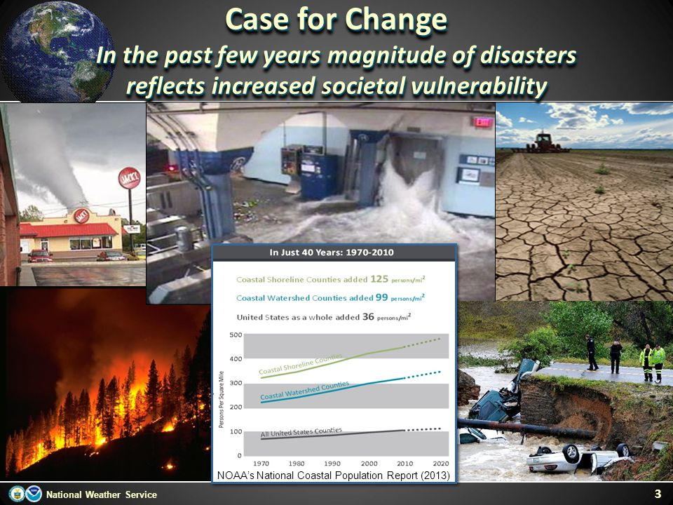 Case for Change In the past few years magnitude of disasters
