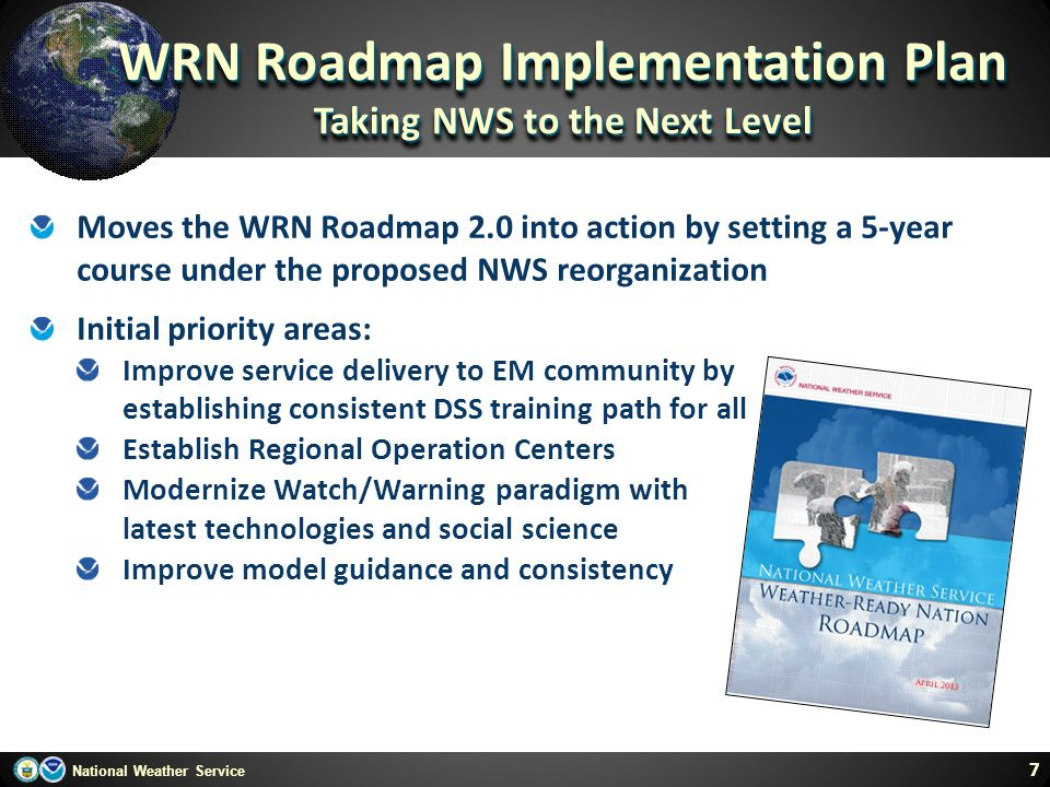 WRN Roadmap Implementation Plan Taking NWS to the Next Level
