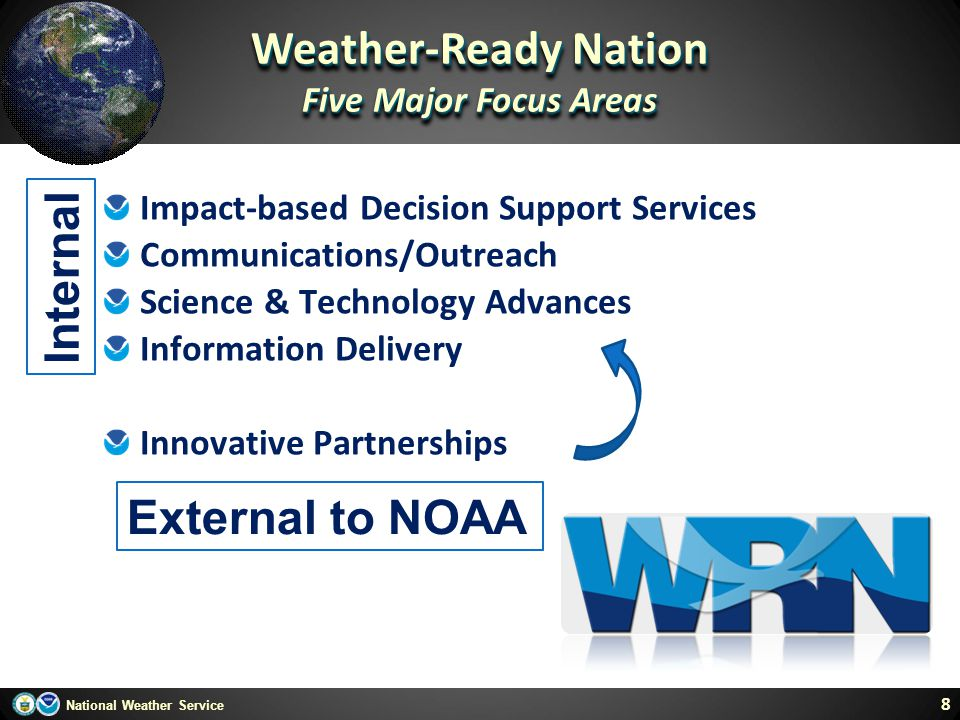 Weather-Ready Nation Internal External to NOAA Five Major Focus Areas