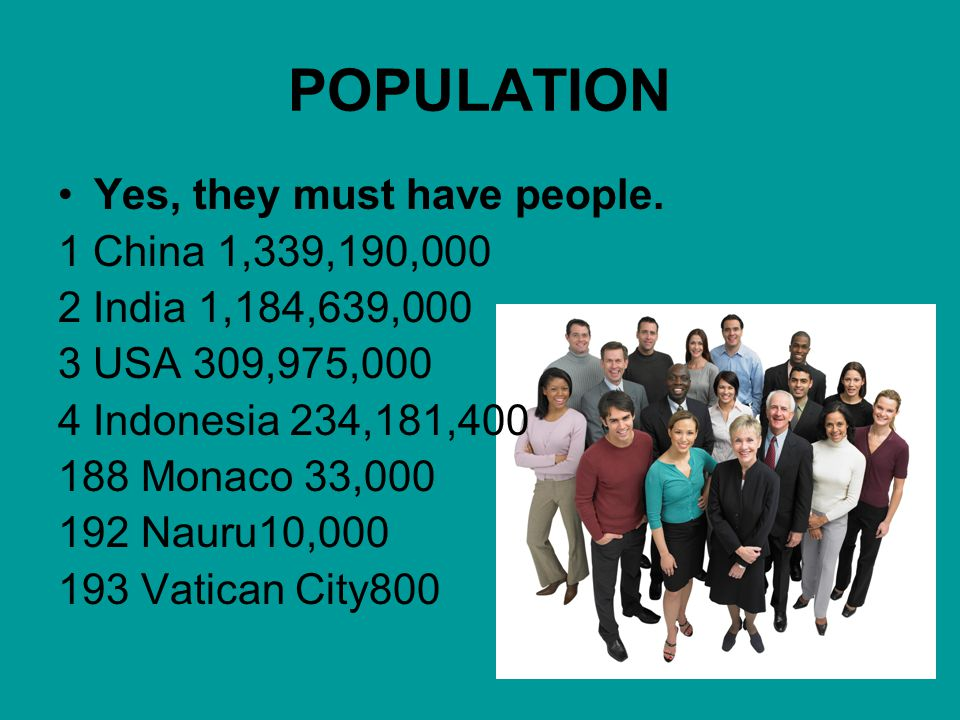 POPULATION Yes, they must have people. 1 China 1,339,190,000