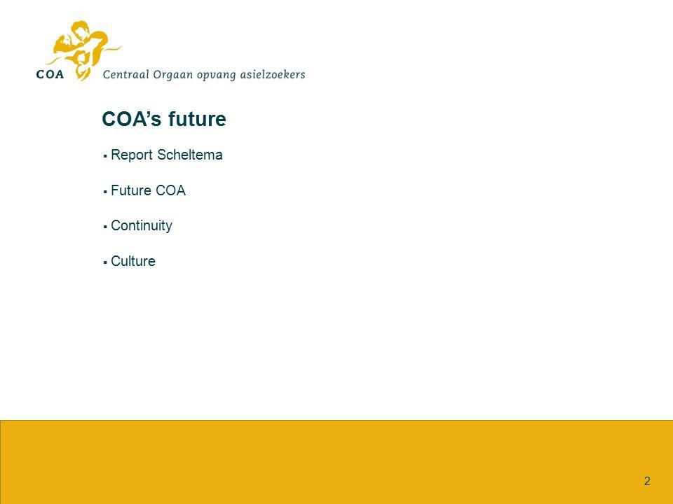 COA's future Report Scheltema Future COA Continuity Culture