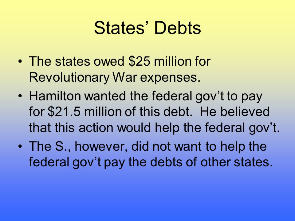 States' Debts The states owed $25 million for Revolutionary War expenses.