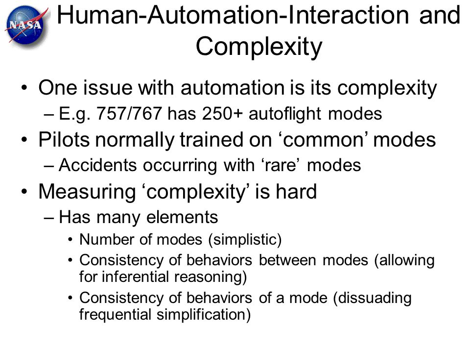 Human-Automation-Interaction and Complexity