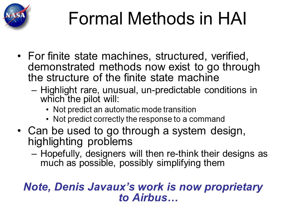 Note, Denis Javaux's work is now proprietary to Airbus…