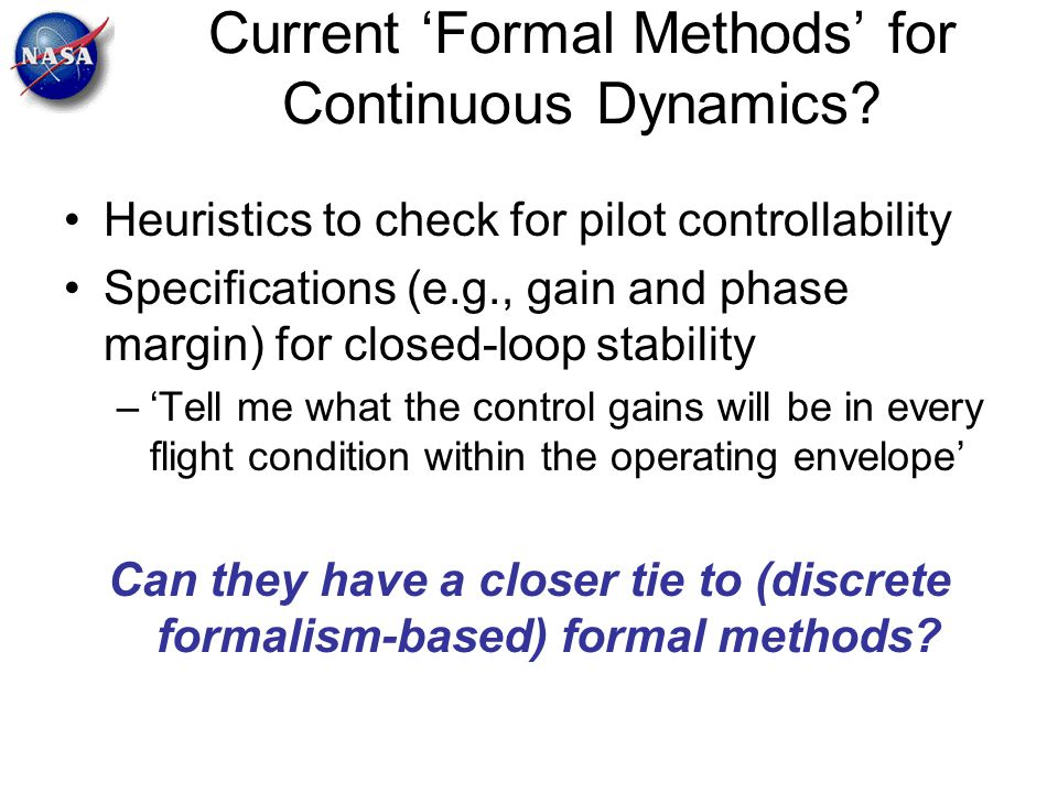 Current 'Formal Methods' for Continuous Dynamics
