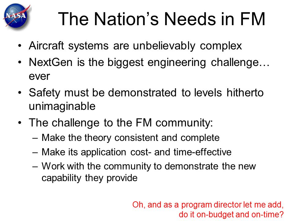 The Nation's Needs in FM