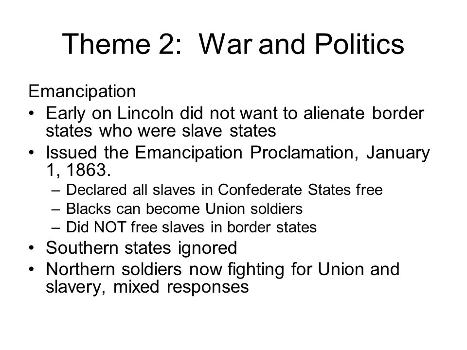 Theme 2: War and Politics