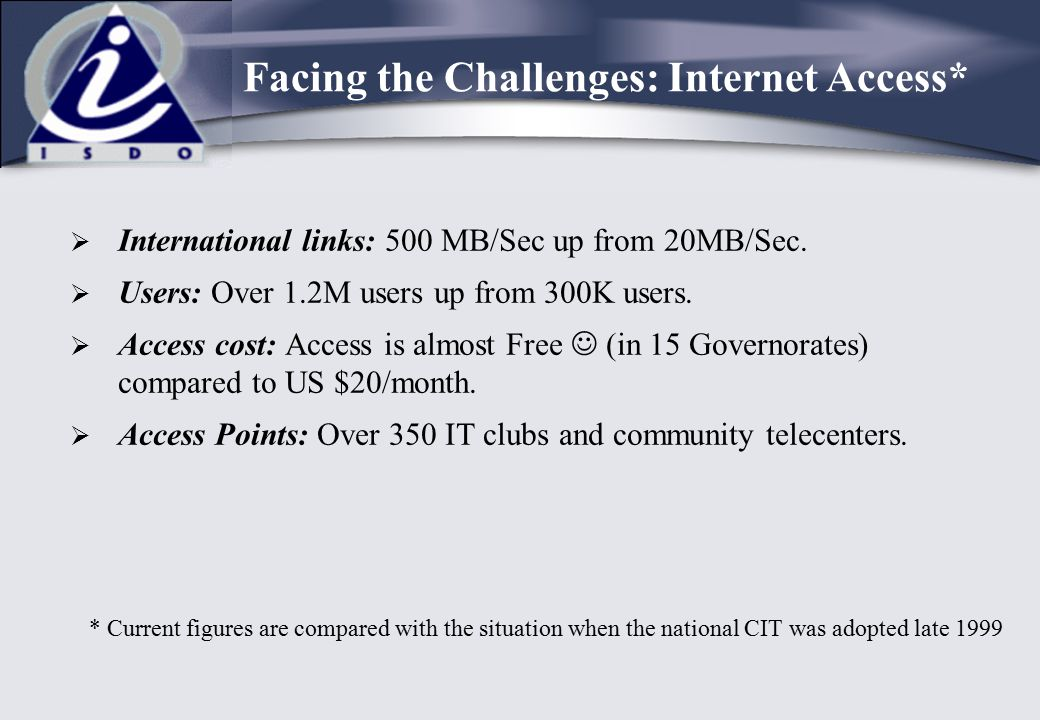 Facing the Challenges: Internet Access*